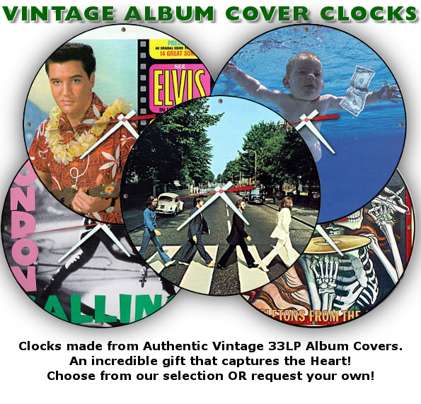 Authentic Vintage Album Cover Clocks
